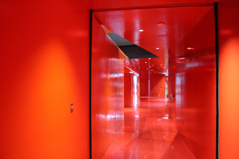 Red floors, walls, and ceilings of one floor in the Seattle Central Library
