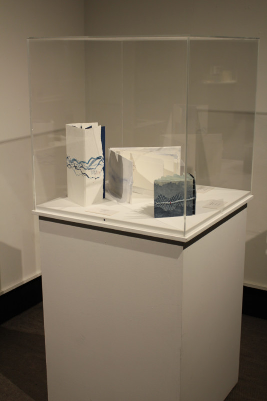 A display of three blue and white artists' books inside a glass display case at Art of the Book 2018