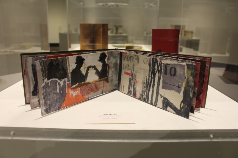 Open pages of an artist's book at Art of the Book